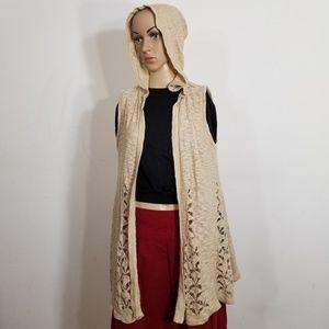 Belldini Cream Crochet Knit Hooded Cardigan XL